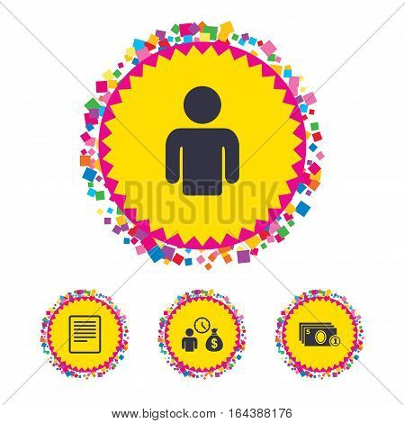 Web buttons with confetti pieces. Bank loans icons. Cash money bag symbol. Apply for credit sign. Fill document and get cash money. Bright stylish design. Vector