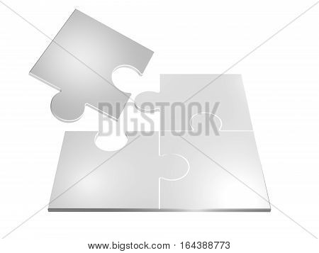 3D Illustration Of Colorful Puzzle Pieces Isolated Over White Background.