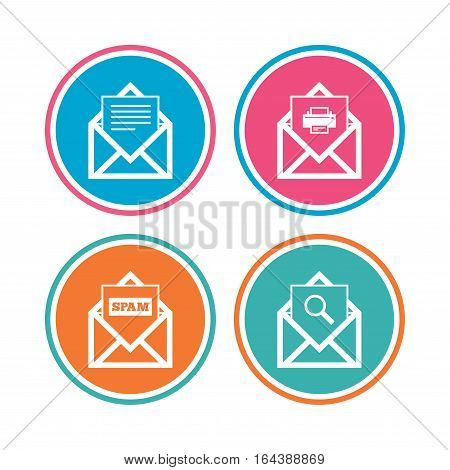 Mail envelope icons. Print message document symbol. Post office letter signs. Spam mails and search message icons. Colored circle buttons. Vector