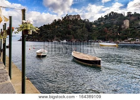 PORTOFINO, ITALY - DECEMBER 2016: Sea bay near Portofino town in Liguria, Italy