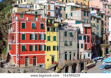 Colorful architecture of Riomaggiore in Cinque Terre national park, Liguria, Italy