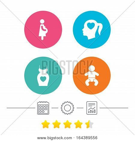 Maternity icons. Baby infant, pregnancy and dress signs. Head with heart symbol. Calendar, cogwheel and report linear icons. Star vote ranking. Vector