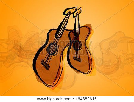 An illustrated and abstract image of two acoustic guitars in bright, festive colors.