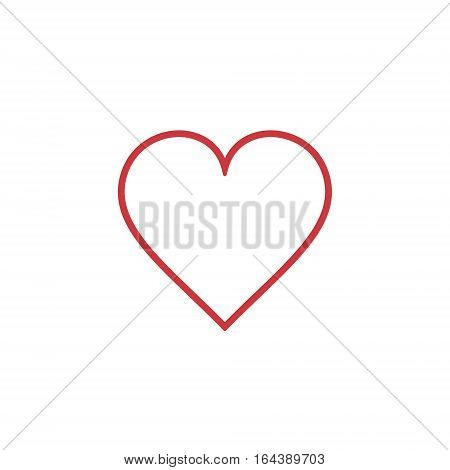 Heart Icon outline Vector. Love symbol. Valentine's Day sign isolated on white background Flat style for graphic and web design logo.