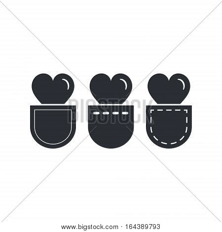 Heart in pocket icon set vector isolated simple illustration.