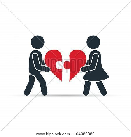 Man and woman pushing puzzle pieces of heart. The concept of care health support love valentine. Vector.