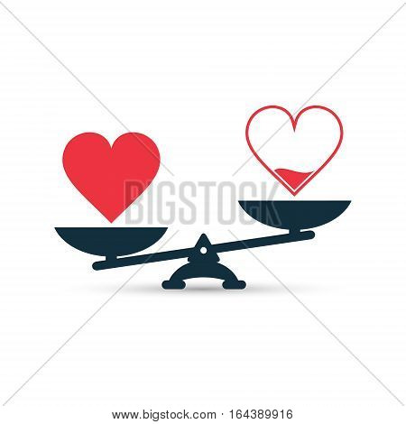 Full and empty heart on scales measurement love level vector concept.