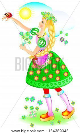 Illustration of beautiful girl with ladybird on her hand. Vector cartoon image.