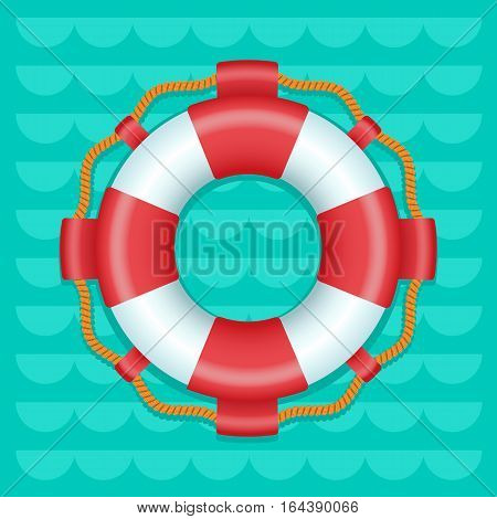 Lifebuoy cartoon style color vector icon, Marine safe theme, blue or turquoise sea waves flat style background, life preserver sign, red and white color ring buoy illustration, summer color template