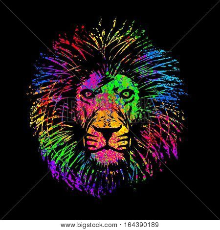abstract Isolated lion's head in multicolored psychedelic colors