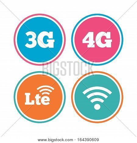 Mobile telecommunications icons. 3G, 4G and LTE technology symbols. Wi-fi Wireless and Long-Term evolution signs. Colored circle buttons. Vector