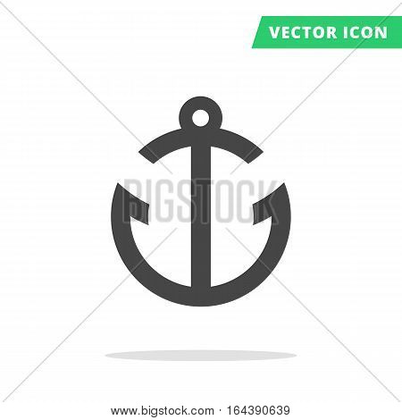 Ship anchor black vector icon, abstract marine sign