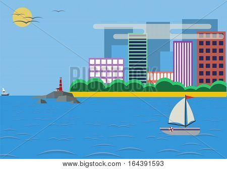 Lighthouse daylight landscape with town and beach. Vector flat illustrations.