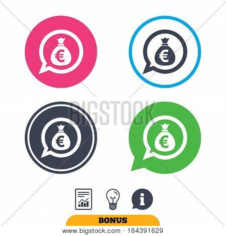 Money bag sign icon. Euro EUR currency speech bubble symbol. Report document, information sign and light bulb icons. Vector