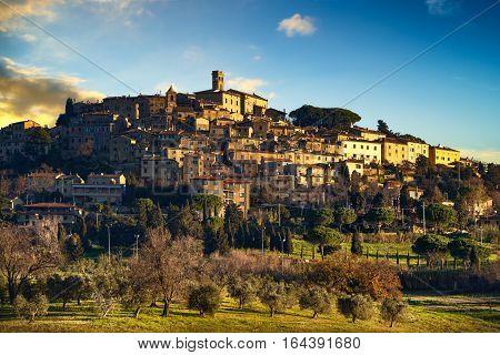Casale Marittimo old stone village in Maremma skyline. Pisa Tuscany Italy Europe.