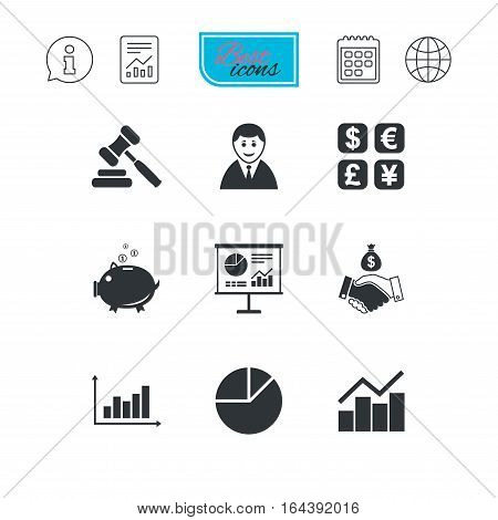 Money, cash and finance icons. Handshake, piggy bank and currency exchange signs. Chart, auction and businessman symbols. Report document, calendar and information web icons. Vector