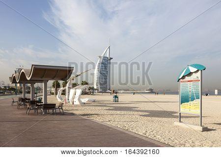 DUBAI UAE - NOV 28 2016: Jumeirah Beach and Burj al Arab in Dubai United Arab Emirates