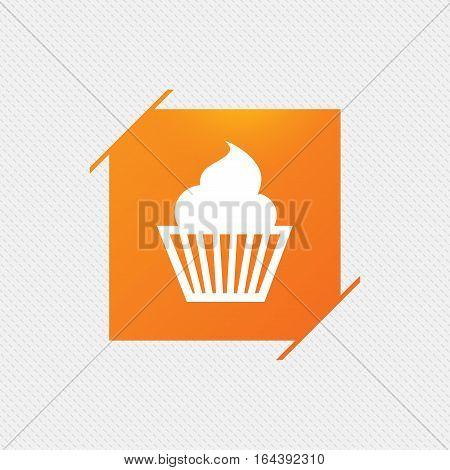 Muffin sign icon. Cupcake symbol. Orange square label on pattern. Vector