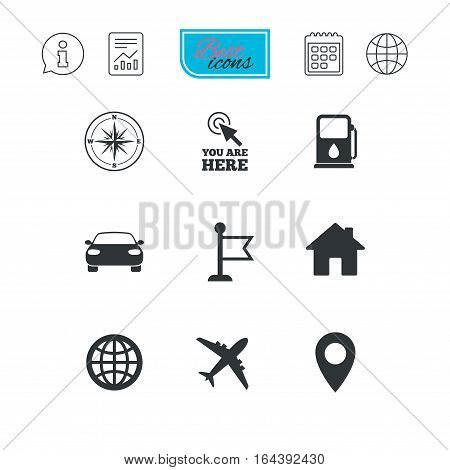 Navigation, gps icons. Windrose, compass and map pointer signs. Car, airplane and flag symbols. Report document, calendar and information web icons. Vector