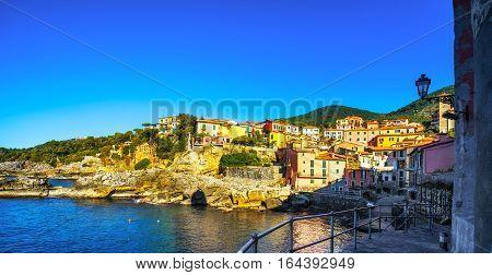 Tellaro sea village seafront or promenade. Five lands Cinque Terre Liguria Italy Europe.