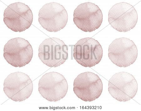 Set Of Brown, Coffee Color Watercolor Hand Painted Circle Isolated On White. Illustration For Artist