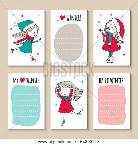 Print templates set. Cute hand drawn Doodle colorful stylish birthday party, cards, brochures, invitations with cute girls. Snow, ice skating.