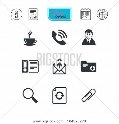 Office, documents and business icons. Coffee, phone call and businessman signs. Safety pin, magnifier and mail symbols. Report document, calendar and information web icons. Vector