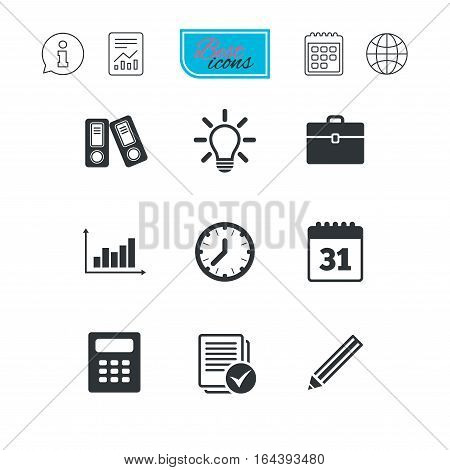 Office, documents and business icons. Accounting, calculator and case signs. Ideas, calendar and statistics symbols. Report document, calendar and information web icons. Vector