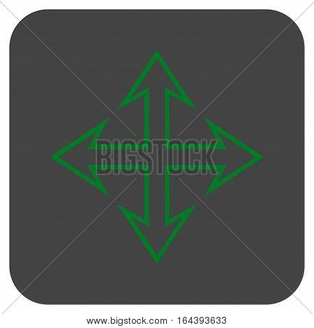 Expand Arrows glyph icon. Image style is a flat icon symbol on a rounded square button green and gray colors.