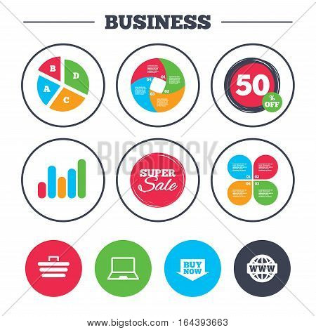 Business pie chart. Growth graph. Online shopping icons. Notebook pc, shopping cart, buy now arrow and internet signs. WWW globe symbol. Super sale and discount buttons. Vector