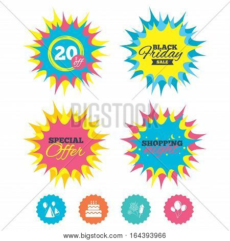 Shopping night, black friday stickers. Birthday party icons. Cake, balloon, hat and muffin signs. Fireworks with rocket symbol. Double decker with candle. Special offer. Vector