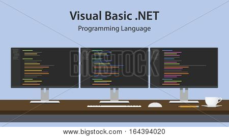 Illustration of Visual Basic .NET programming language code displayed on three monitor in a row at programmer workspace vector