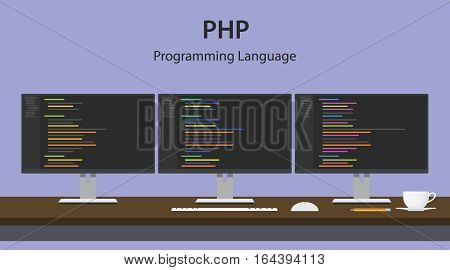 Illustration of PHP programming language code displayed on three monitor in a row at programmer workspace vector