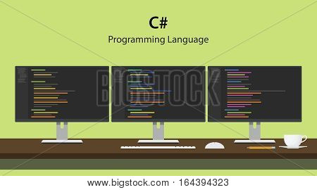 Illustration of C programming language code displayed on three monitor in a row at programmer workspace vector