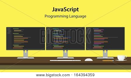 Illustration of JavaScript programming language code displayed on three monitor in a row at programmer workspace vector