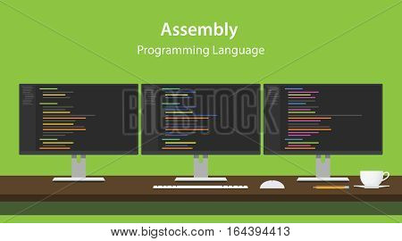 Illustration of Assembly programming language code displayed on three monitor in a row at programmer workspace vector