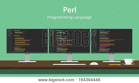 Illustration of Perl programming language code displayed on three monitor in a row at programmer workspace vector