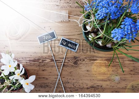 Two Signs With German Text Zeit Fuer Mich Means Time For Me. Sunny Spring Flowers Like Grape Hyacinth And Crocus. Hemp Fabric Ribbon. Aged Wooden Background