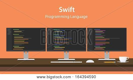Illustration of Swift programming language code displayed on three monitor in a row at programmer workspace vector