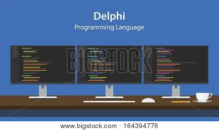 Illustration of Delphi programming language code displayed on three monitor in a row at programmer workspace vector