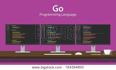 Illustration of Go programming language code displayed on three monitor in a row at programmer workspace vector