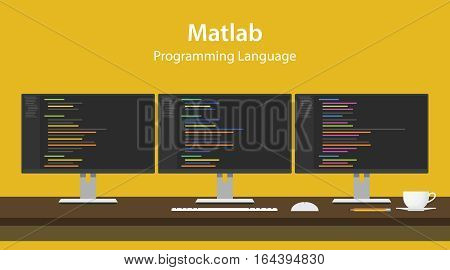 Illustration of Matlab programming language code displayed on three monitor in a row at programmer workspace vector