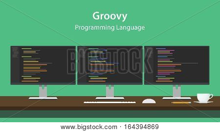 Illustration of Groovy programming language code displayed on three monitor in a row at programmer workspace vector
