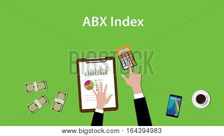 abx index illustration with business man working on paper work graph chart and money vector