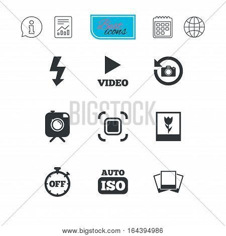 Photo, video icons. Camera, photos and frame signs. Flash, timer and macro symbols. Report document, calendar and information web icons. Vector