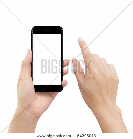 close-up hand touching smartphone screen isolated on white mock up phone mobile blank screen easy adjustment with clipping path