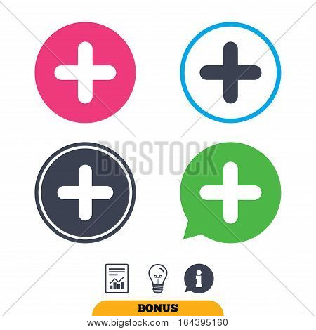 Plus sign icon. Positive symbol. Zoom in. Report document, information sign and light bulb icons. Vector