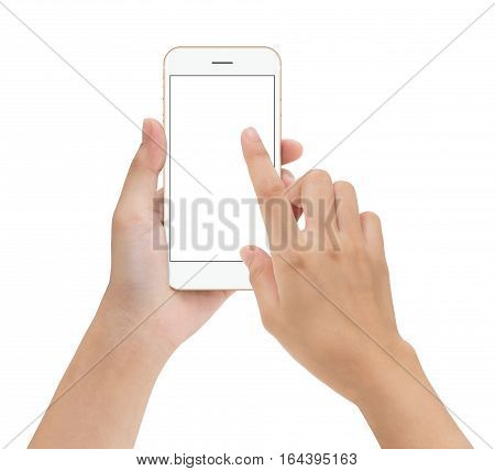 close-up hand touching phone mobile screen isolated on white mock up smartphone blank screen easy adjustment with clipping path