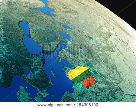 Flag Of Lithuania From Space