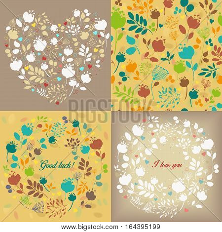 Spring graceful floral patterns set. Graceful white and colorful silhouettes of flowers and plants. Seamless pattern. Heart pattern seamless patterns. Round patterns with text - I love you Good luck